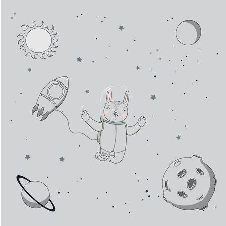 Hand getekend monochroom vectorillustratie van een schattige grappige konijn astronaut op een ruimtewandeling in de ruimte, op een achtergrond met sterren en planeten. Geïsoleerde objecten. Ontwerpconcept voor kinderen.