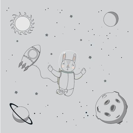 Hand drawn monochrome vector illustration of a cute funny rabbit astronaut on a spacewalk in outer space, on a background with stars and planets. Isolated objects. Design concept for children.