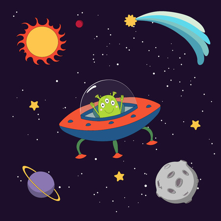 Hand drawn colorful vector illustration of a cute funny alien in a flying saucer in outer space, on a dark background with stars and planets. Isolated objects. Design concept for children. Illustration