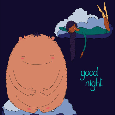 Hand drawn vector illustration of a sleeping dark skinned girl and cute monster floating on the clouds, with text Good night. Isolated objects. Design concept for children - postcard, T-shirt print Illusztráció