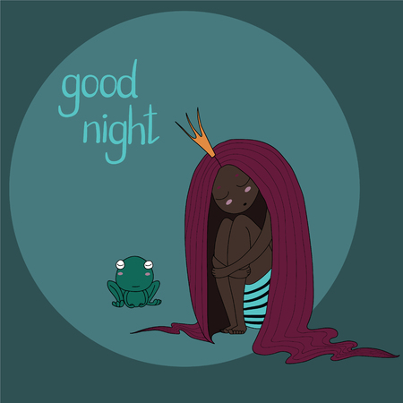 Hand drawn vector illustration of a sleeping dark skinned princess with long hair and frog, with text Good night. Isolated objects. Design concept for children - postcard, poster, T-shirt print