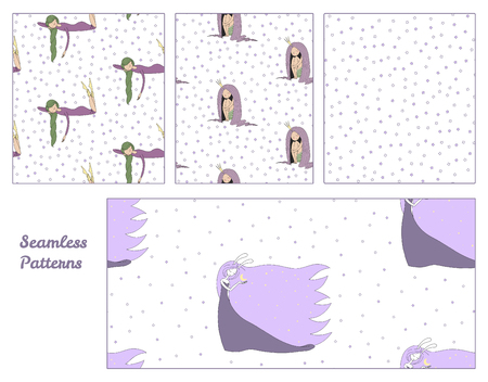 Set of hand drawn cute seamless vector patterns with sleeping girls: in a night gown, princess, moon goddess with bunny ears holding moon, and stars on a white background. Design concept for kids. Иллюстрация