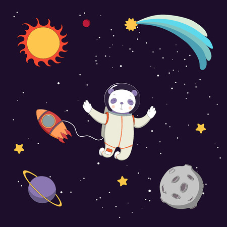 Hand drawn colorful vector illustration of a cute funny panda astronaut on a spacewalk in outer space, on a dark background with stars and planets. Isolated objects. Design concept for children.