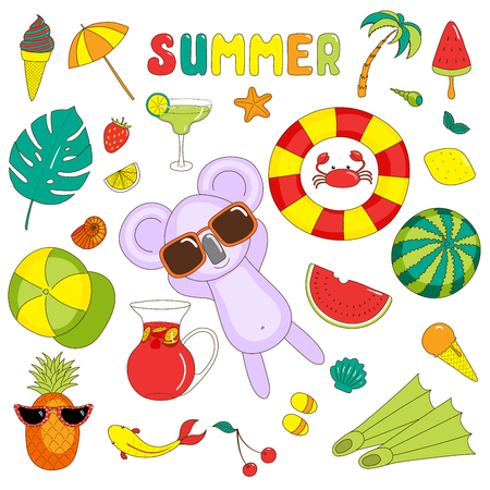 Set of hand drawn bright summer stickers with cute cartoon koala, fruits, drinks, sea creatures and various objects, with text.  Isolated objects on white background. Design concept beach holidays.
