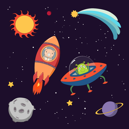 Hand drawn colorful vector illustration of a cute funny alien in a flying saucer and bear astronaut in a rocket, on a dark background with stars and planets. Isolated objects. Design concept for kids.