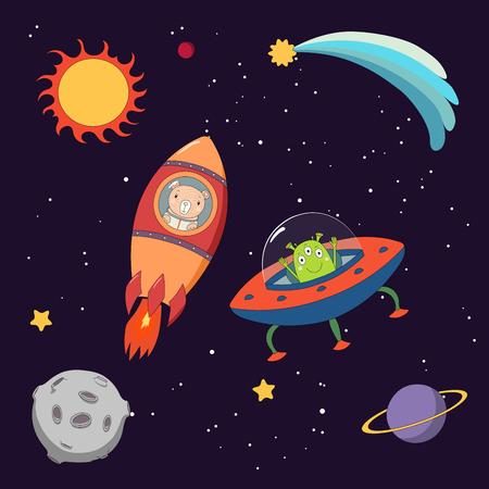 Hand getekend kleurrijke vector illustratie van een schattige grappige alien in een vliegende schotel en beer astronaut in een raket, op een donkere achtergrond met sterren en planeten. Geïsoleerde objecten. Ontwerpconcept voor kinderen.