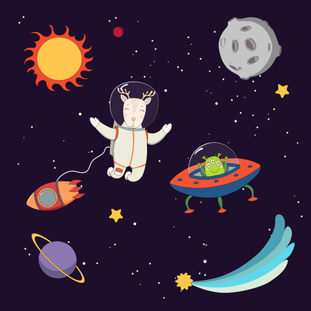 Hand drawn colorful vector illustration of a cute funny alien in a flying saucer and deer astronaut on a spacewalk, on a dark background with stars and planets. Isolated objects. Design concept kids.