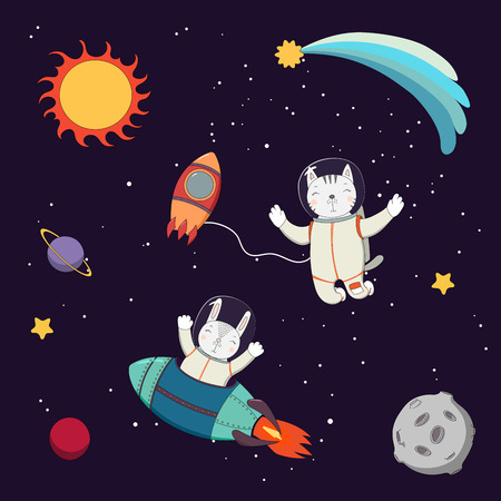 Hand drawn colorful vector illustration of a cute funny bunny astronaut in a rocket and cat astronaut on a spacewalk, on a dark background with stars and planets. Isolated objects. Design concept kids Ilustração