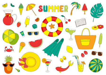 Set of hand drawn bright summer stickers with cartoon sea creatures, fruits, drinks, ice cream and various objects, with text.  Isolated objects on white background. Design concept beach vacations.