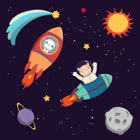 手には、かわいいの面白いパンダとクマの宇宙飛行士は宇宙、星や惑星の暗い背景の上にロケットの飛行のカラフルなベクトル図が描画されます。  イラスト・ベクター素材