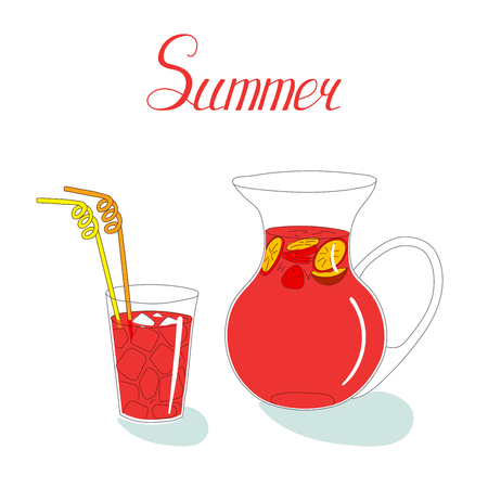 Hand drawn vector still life with pitcher of sangria with fruits and berries and a glass with drinking straws and ice, with written text. Isolated objects on white background. Design concept drinks.
