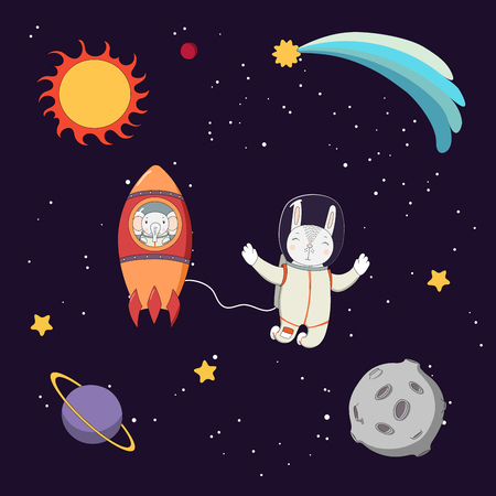 Hand drawn colorful vector illustration of a cute funny elephant astronaut in a rocket and rabbit on a spacewalk, on a dark background with stars and planets. Isolated objects. Design concept kids.