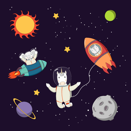 Hand drawn colorful vector illustration of a cute funny bunny and elephant astronauts in rockets and unicorn on a spacewalk, on a dark background with planets. Isolated objects. Design concept kids.