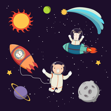 Hand drawn colorful vector illustration of a cute funny deer and owl astronauts in rockets and bear on a spacewalk, on a dark background with planets and stars. Isolated objects. Design concept kids. Illustration