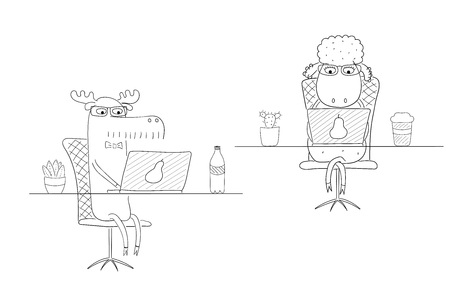Hand drawn black and white vector illustration of a funny sheep and moose as office workers, at the desk with a laptop. Line drawing. Isolated objects on white background. Design concept for work.