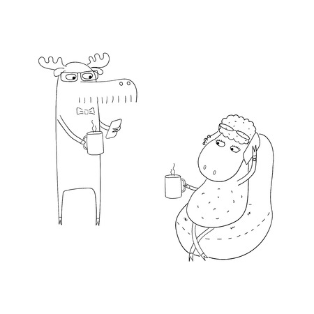 Hand drawn black and white vector illustration of a funny sheep and moose as office workers, having a coffee break. Line drawing. Isolated objects on white background. Design concept for work. Banco de Imagens - 88892519