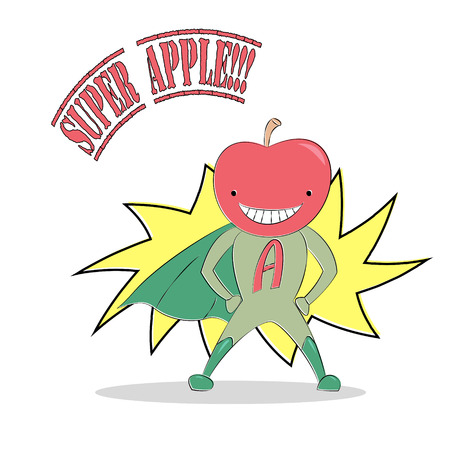 Vector illustration of an anthropomorphic apple man in super hero costume, standing proudly and smiling, cape flowing, comics style. Design for children, postcard, poster, sticker, T-shirt print.