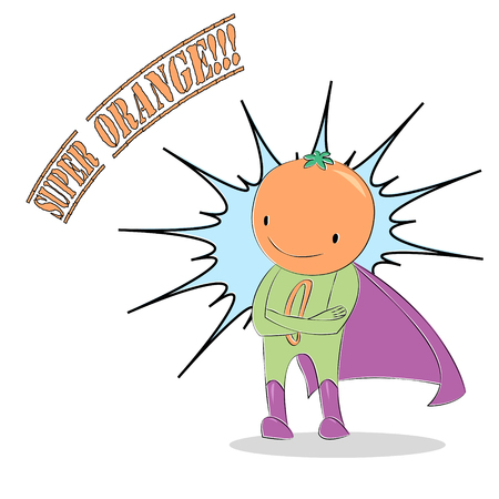 cute: Vector illustration of an anthropomorphic orange man in super hero costume, arms crossed, smiling, cape flowing, comics style. Design for children, postcard, poster, sticker, T-shirt print.