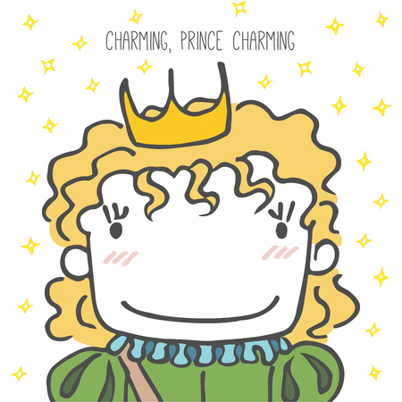 Hand drawn vector illustration of a cartoon prince with wavy hair, in a crown, with sparkles, text Charming, prince charming. Design concept for children - postcard, poster, sticker, T-shirt print. Illustration