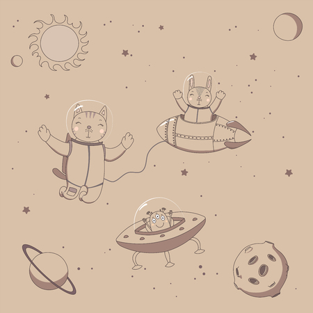 Hand drawn sepia vector illustration of a cute funny alien in a flying saucer, rabbit astronaut in a rocket and cat on a spacewalk, on a background with stars. Isolated objects. Design concept kids. Illustration