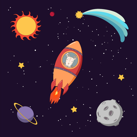 Hand drawn colorful vector illustration of a cute funny deer astronaut flying in a rocket in outer space, on a dark background with stars and planets. Isolated objects. Design concept for children.