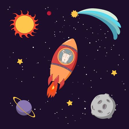 Entregue a ilustração colorida tirada do vetor de um astronauta engraçado bonito dos cervos que voa em um foguete no espaço, em um fundo escuro com estrelas e planetas. Objetos isolados. Conceito de design para crianças.