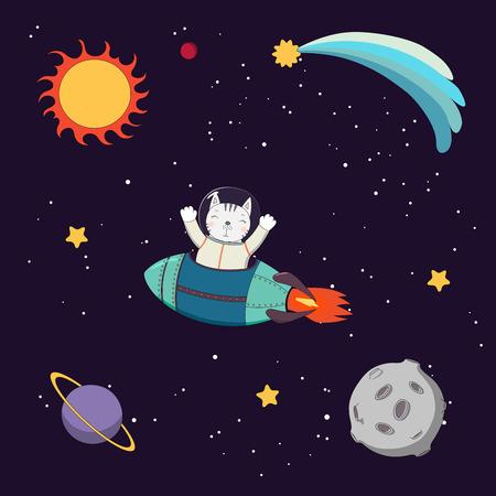 手には、星や惑星の暗い背景に、宇宙空間でロケットを飛んでいるかわいい面白い猫宇宙飛行士のカラフルなベクトル図が描かれました。孤立した