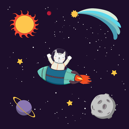 Hand drawn colorful vector illustration of a cute funny cat astronaut flying in a rocket in outer space, on a dark background with stars and planets. Isolated objects. Design concept for children.