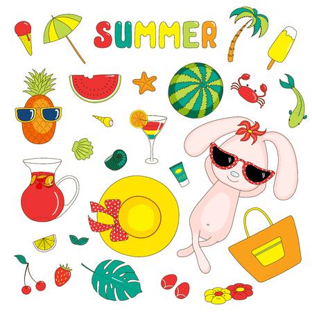 Set di adesivi brillanti di estate disegnati a mano con cute coniglio cartoon, frutta, bevande, creature marine e vari oggetti, con il testo. Oggetti isolati su sfondo bianco. Idee di design spiaggia vacanze. Archivio Fotografico - 88892529