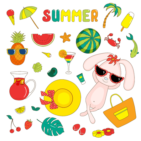 Set of hand drawn bright summer stickers with cute cartoon rabbit, fruits, drinks, sea creatures and various objects, with text.  Isolated objects on white background. Design concept beach holidays. Illustration