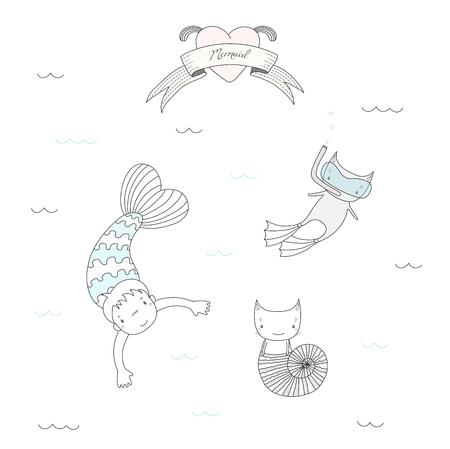 かわいい人魚の女の子と海のシェル、フィンを泳ぐ 2 匹の猫の描かれたベクトル イラスト、スキューバ ダイビングのマスク、水、心およびテキスト