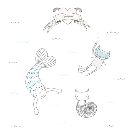 Hand drawn vector illustration of a cute mermaid girl and two cats in sea shell and in swim fins, scuba mask, under water, heart and text. Isolated objects on white background. Design concept for kids