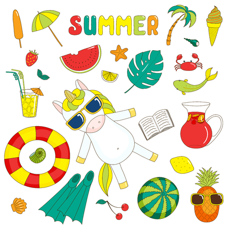 Set of hand drawn bright summer stickers with cute cartoon unicorn, fruits, drinks, sea creatures and various objects, with text.  Isolated objects on white background. Design concept beach vacations.