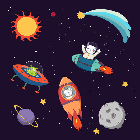 Hand drawn colorful vector illustration of a cute funny alien in a flying saucer and panda and cat astronauts in rockets, on a dark background with planets. Isolated objects. Design concept for kids. Illustration