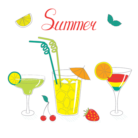 Hand drawn vector still life with cocktails in different glasses with fruits, berries and mint leaves, with written text. Isolated objects on white background. Design concept refreshments and drinks. Çizim