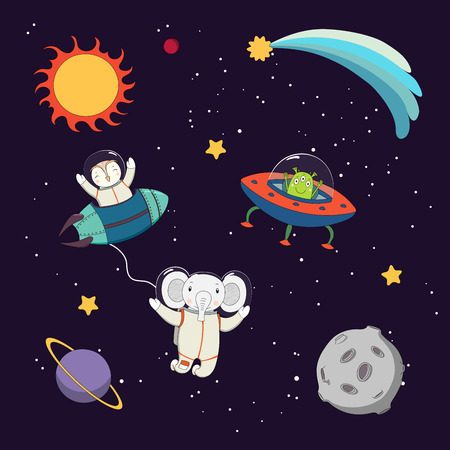 Hand drawn colorful vector illustration of a cute funny alien in a flying saucer, owl astronaut in a rocket and elephant on a spacewalk, on a dark background. Isolated objects. Design concept for kids