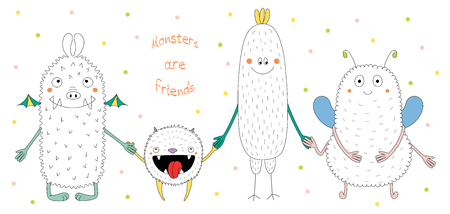 Hand drawn vector illustration of cute funny monsters smiling and holding hands, with text Monsters are friends. Isolated objects on white background with polka dots. Design concept for children. Иллюстрация