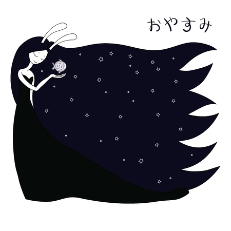 Hand drawn vector illustration of a moon goddess with bunny ears holding fish representing moon in her palm, with Japanese text in hiragana Oyasumi (Good night). Design concept for children.