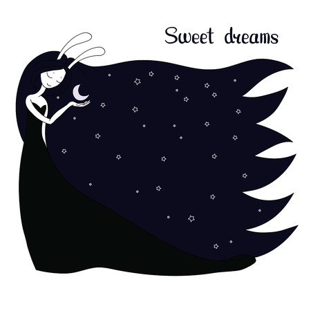 Hand drawn vector illustration of a moon goddess with bunny ears holding moon in her palm, with stars in her hair, with text Sweet dreams. Design concept for children - postcard, T-shirt print. Illustration