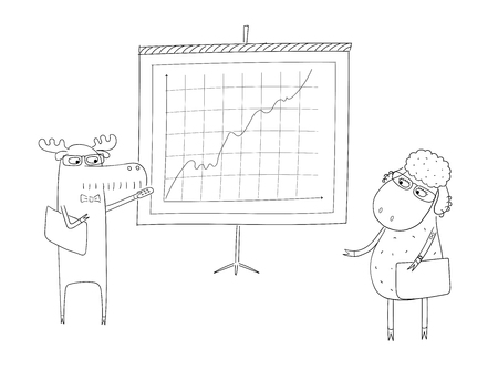Hand drawn black and white vector illustration of a funny sheep and moose as office workers doing. Line drawing. Isolated objects on white background. Design concept for work, office, business.