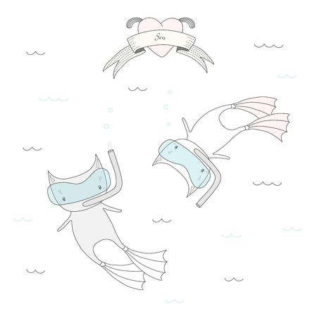 Hand drawn vector illustration of two cute little cats in swim fins and scuba masks, diving in the sea, heart and text Sea on a ribbon. Isolated objects on white background. Design concept for kids. Stock Vector - 88892590