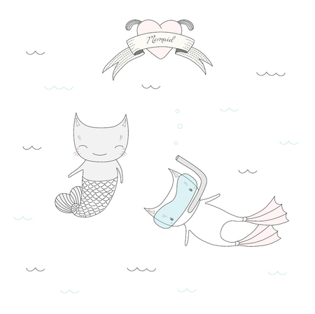 Hand drawn vector illustration of two cute little cats under water, with fish tail and in swim fins and scuba mask, heart and text Sea. Isolated objects on white background. Design concept for kids.