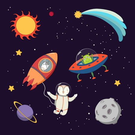 Hand drawn colorful vector illustration of a cute funny alien in a flying saucer, unicorn astronaut in a rocket and owl on a spacewalk, on a dark background. Isolated objects. Design concept for kids.