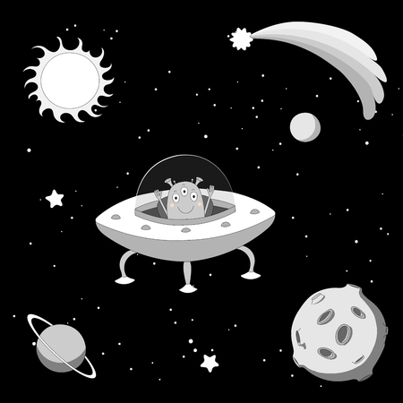 Hand drawn black and white vector illustration of a cute funny alien in a flying saucer in outer space, on a dark background with stars and planets. Isolated objects. Design concept for children. Illustration