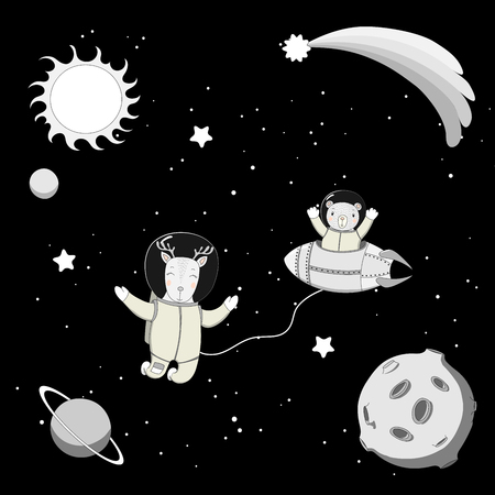 Hand drawn black and white vector illustration of a cute funny bear astronaut in a rocket and derr on a spacewalk, on a dark background with stars and planets. Isolated objects. Design concept kids. Illustration