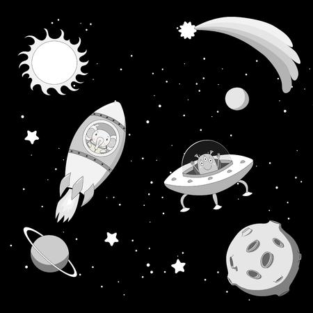 Hand getrokken zwart-witte vectorillustratie van een leuke grappige vreemdeling in een vliegende schotel en olifantenastronaut in een raket, op achtergrond met sterren en planeten. Geïsoleerde objecten. Ontwerpconcept kinderen. Stock Illustratie