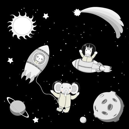 Hand getekend zwart-wit vectorillustratie van een schattige grappige Eenhoorn en panda-astronauten in raketten en olifant op een ruimtewandeling, op een achtergrond met planeten. Geïsoleerde objecten. Ontwerpconcept kinderen.