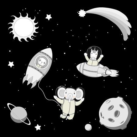 Hand drawn black and white vector illustration of a cute funny unicorn and panda astronauts in rockets and elephant on a spacewalk, on a background with planets. Isolated objects. Design concept kids.