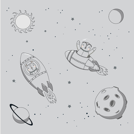 Hand drawn monochrome vector illustration of a cute funny bunny and owl astronauts flying in rockets in outer space, on a gray background with stars and planets. Isolated objects. Design concept kids. Illustration