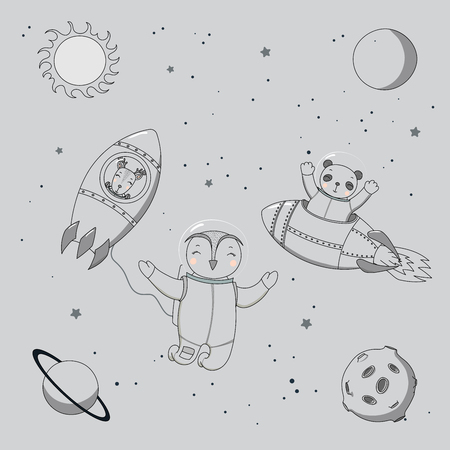 Hand drawn monochrome vector illustration of a cute funny deer and panda astronauts in rockets and owl on a spacewalk, on a background with planets and stars. Isolated objects. Design concept kids.